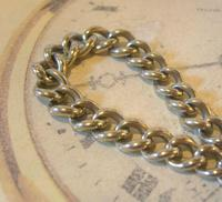 Antique Pocket Watch Chain 1890s Victorian Large Silver Nickel Graduated Link Albert (5 of 10)