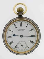 Omega Gunmetal Open Face Pocket Watch  Swiss 1900