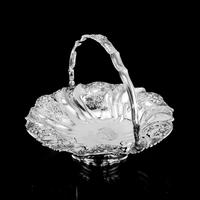 Magnificent Large Georgian Solid Silver Basket with Floral Motifs - Joseph & John Angell 1835 (49 of 55)