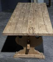 Large Rustic Bleached Oak Farmhouse Refectory Dining Table (3 of 25)