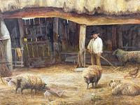 "Watercolour ""Tending The Sheep"" By Bertha Rhodes RA Rca Exh 1905 -1912 (41 of 41)"