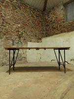 Industrial Vintage Folding Trestle Dining Table with Metal Legs & Reclaimed Top (11 of 17)
