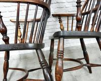 Pair of Named Windsor Lowback Armchairs, F Walker of Rockley (7 of 8)