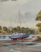 Superb Quality 20th Century Vintage Boats Estuary Seascape Watercolour Painting (8 of 11)