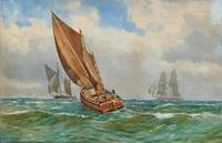 Att: William Boyce 19th Century Sailing Smack Seascape Watercolour Painting (2 of 11)
