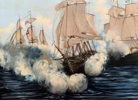 Large Fabulous Vintage 20th Century Maritime Naval Battle Ships Seascape Oil Painting (4 of 12)