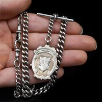 Antique Albert Watch Chain with Double Dog Clips, T-Bar and Medal (2 of 9)