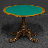 Victorian Burr Walnut Card Table with Green Baize (6 of 12)