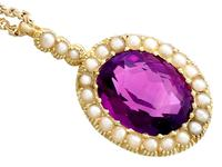 6.56 ct Amethyst and Pearl, 15 ct Yellow Gold Pendant - Antique Circa 1890 (10 of 12)