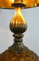 Pair of Large Vintage Glass & Figured Ormolu Table Lamps (6 of 10)