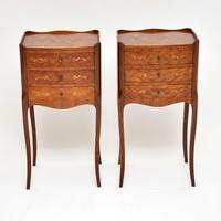 Pair of Antique French Inlaid Marquetry Bedside Tables (2 of 10)