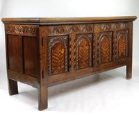 Decorative 17th Century Converted Inlaid Oak Coffer (4 of 7)