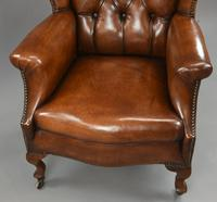 Stunning 19th Century Leather Wing Chair (5 of 6)