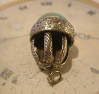 Vintage Pocket Watch Chain Fob 1950s Large Silver Nickel Victorian Revival Fob (6 of 8)