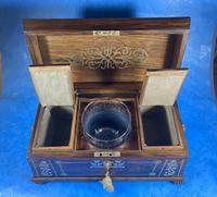 Regency Rosewood Brass Foliate Inlaid Tea Caddy (13 of 15)