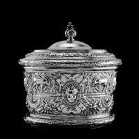 Rare Antique Solid Silver Cellini Tea Caddy Box - Mappin & Webb 1902 (10 of 28)