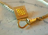 Antique Pocket Watch Chain 1930s Art Deco 12ct Gold Plated With Button Hole Fob (5 of 8)