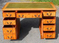 1960s Yew Wood Pedestal Desk with Green Leather (2 of 4)