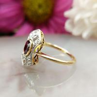 Art Deco 18ct Gold, Platinum Ruby & Diamond Shield Ring (3 of 8)