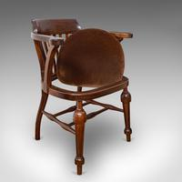 Antique Captain's Chair, English, Mahogany, Armchair, Seat, Edwardian c.1910 (6 of 12)