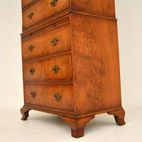 Antique Burr Elm Chest on Chest of Drawers (6 of 10)