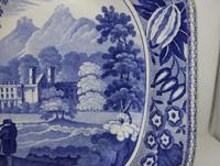 Antique Blue & White Pearlware Parkland Scenery Platter (4 of 12)