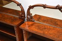 Pair of Antique Victorian Burr Walnut Mirrored Bookcases (11 of 13)