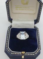 Platinum Pale Aquamarine & Diamond Ring (7 of 8)