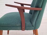 Danish Armchair, completely renovated, wool, teak, 1960s (10 of 16)