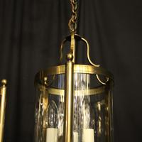 French Gilded Pair of Convex Triple Light Lanterns c.1930 (6 of 10)