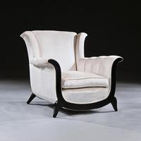 Unusual Pair of French Art Deco Ebonised Armchairs in a Crushed Velvet (8 of 8)