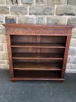 Antique Carved Oak Open Bookcase