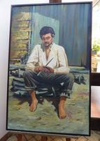 Large oil on canvas The worker Brazilian artist Chediac (Free shipping to Mainland England) (5 of 10)