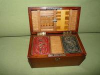 Unusual Oak Games Box - Bezique + Antique Cards + More (4 of 16)