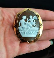 Antique Victorian Cameo Brooch, 9ct Gold, Cupid (7 of 10)
