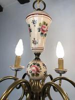 Vintage French Large Porcelain & Brass 6 Arm Flemish Chandelier (5 of 11)