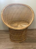 Vintage Boho Mid 20th Century Rounded Peacock Rattan Chair with Cushion (10 of 15)