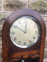 Antique Oak Triple Weight Granddaughter Clock (9 of 10)