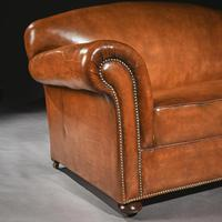 Late 19th Century Victorian Leather Upholstered Drop Arm Sofa (2 of 6)