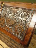 Antique Carved Oak Writing Bureau Desk with Fall Front, Handsome Gothic Piece (7 of 24)