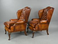 Antique Pair of Deep Buttoned  Leather Wing Chairs (3 of 7)