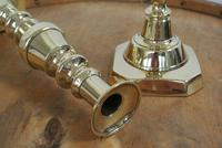 "Rare Set of 4 Large Victorian Brass Candlesticks Through Pushers 12.5"" c.1890 (7 of 7)"