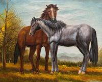 Original Signed 20th Century Vintage Horse & Foal Equestrian Oil on Canvas Painting (3 of 10)
