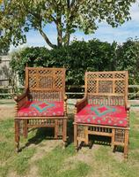 Pair of Moorish Middle Eastern Ottoman Islamic Throne Chairs - Liberty's of London / Liberty & Co