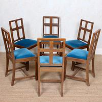 6 Arts & Crafts Carved Oak Dining Chairs (4 of 10)