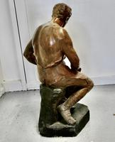 Large 1920s Plaster Figure of the Seated Blacksmith, Le Travail (6 of 12)