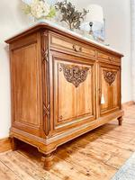 French Antique Sideboard / Walnut Buffet / Marble Cupboard (5 of 10)