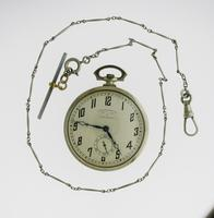 Juvenia Art Deco Nickel Plated Open Face Pocket Watch with Chain Swiss 1925