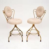 Pair of Vintage French Brass Swivel Side Chairs (2 of 10)