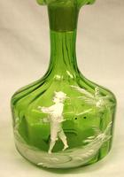 Antique Mary Gregory Green Glass Decanter (3 of 6)